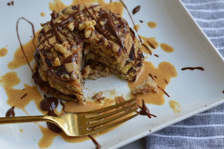 Banana Pancakes with Chocolate & Peanut Butter Drizzle