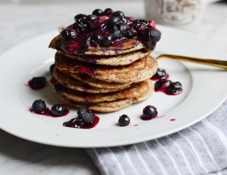 Clean and Delicious Blueberry Banana Almond Flour Pancakes